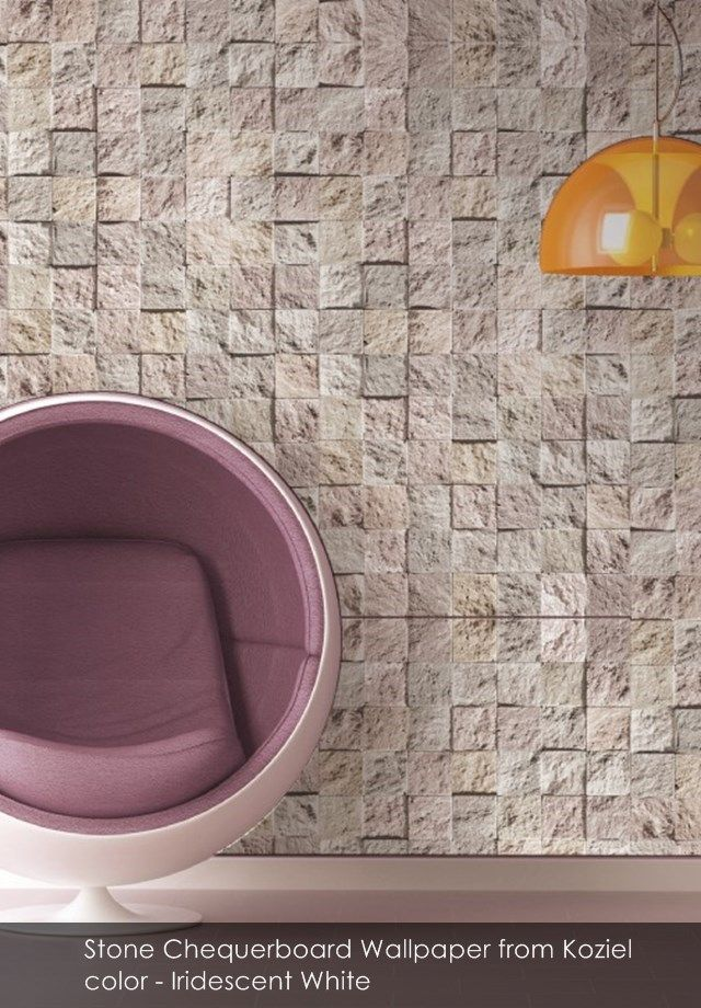Stone Chequerboard Wallpaper from Koziel in Iridescent White