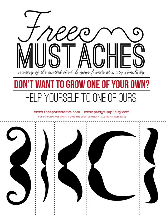 Free Printables - Party Simplicity Mustache Trend Invitation ...