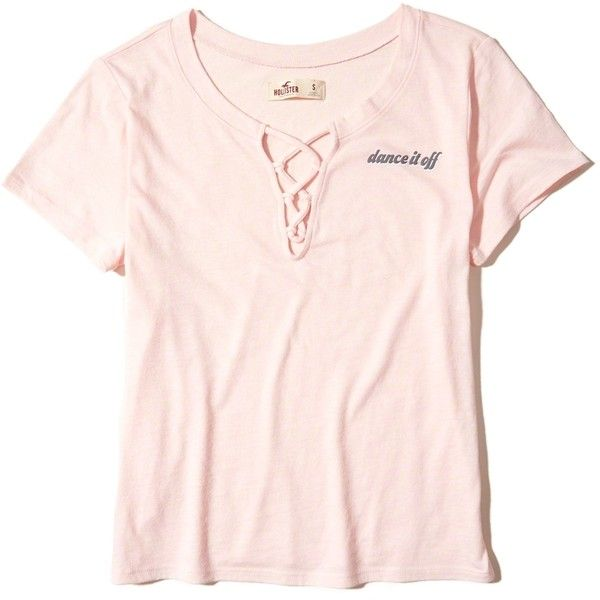 Hollister Lace-Up Graphic Tee (225.705 IDR) ❤ liked on Polyvore featuring  tops