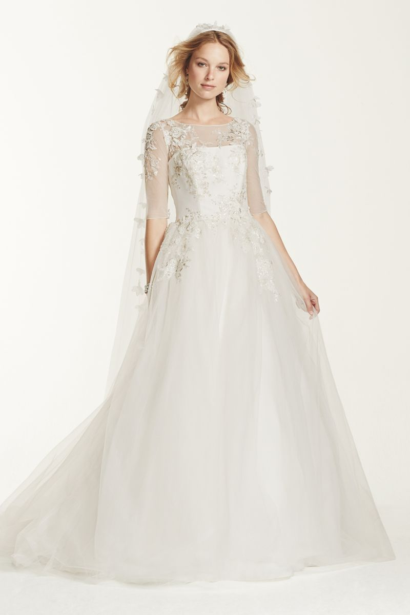 illusion neckline ball gown with embellishment style mk