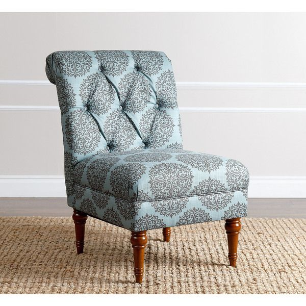 147 ABBYSON LIVING Alexis Floral Teal Tufted Slipper Chair
