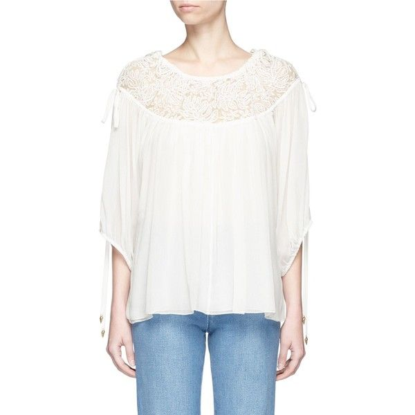 Chloé Embroidered mesh drawstring yoke crépon blouse (20 830 SEK) ❤ liked on Polyvore featuring tops, blouses, white, see through blouse, white mesh top, embroidery blouses, off the shoulder blouse and sheer blouse