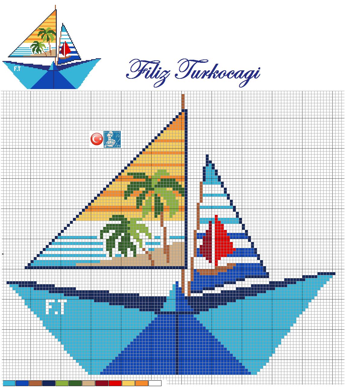Koca yaz geldi geçiyor bir tane desen paylaşmamışım :)) Ben de kağıttan bir kayık yaptım :)) Designed by Filiz Türkocagi...
