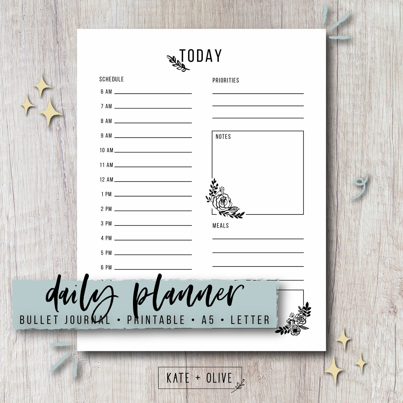 Bullet Journal Printable Daily Planner  Floral  Single Page | Etsy