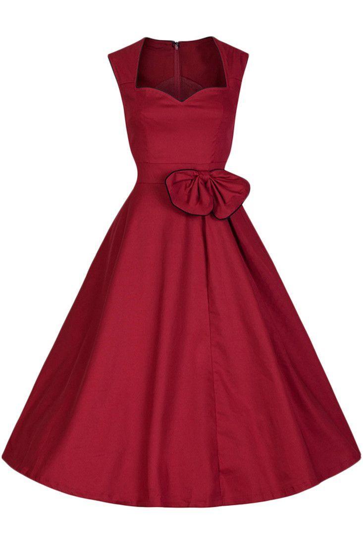 Burgundy Sweetheart Neckline Bowknot Swing Dress Vintage Red Dress Cotton Swing Dress Rockabilly Dress [ 1100 x 733 Pixel ]