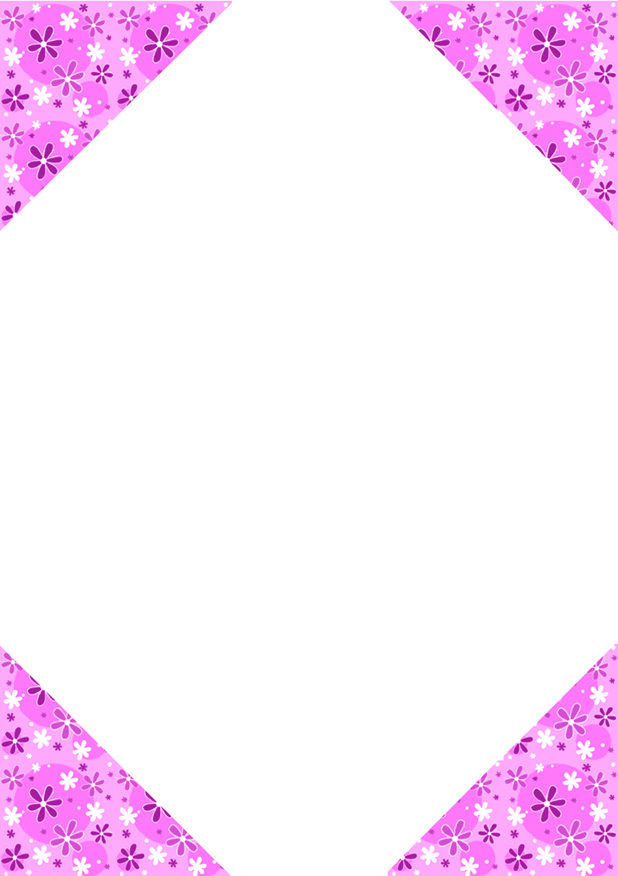 Beautiful Pink Corner Flower Stationary Page Border Design 2016