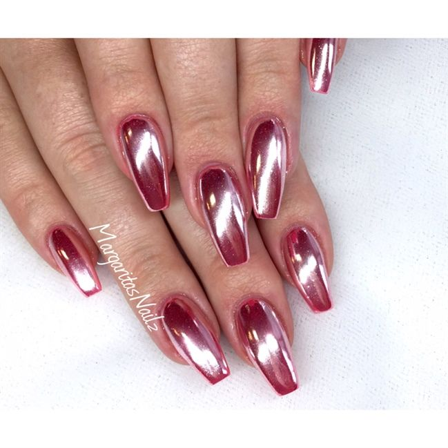Rose chrome coffin nails nail art gallery nageldesign for Nageldesign ombre