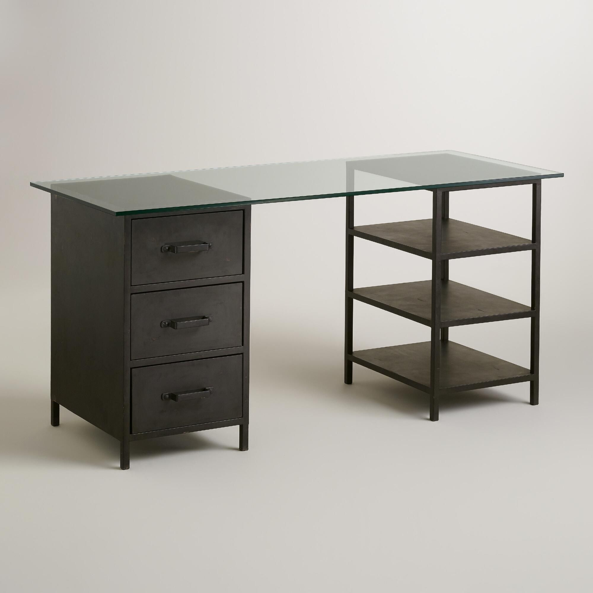 desk large ashley table leg two office drawer with design signature by tone products drawers furniture home