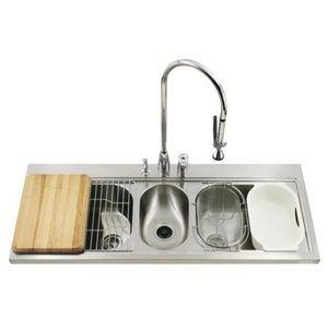 Kohler K3328-3-NA PRO TaskCenter Triple Bowl Sink Kitchen Sink - Stainless  Steel