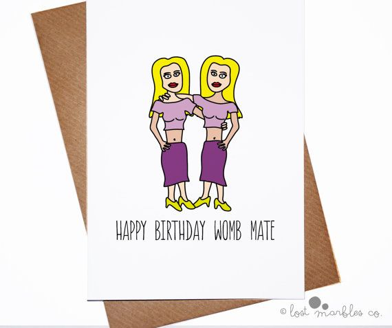 Cute Birthday Card Twins Birthday Card Her Birthday Card