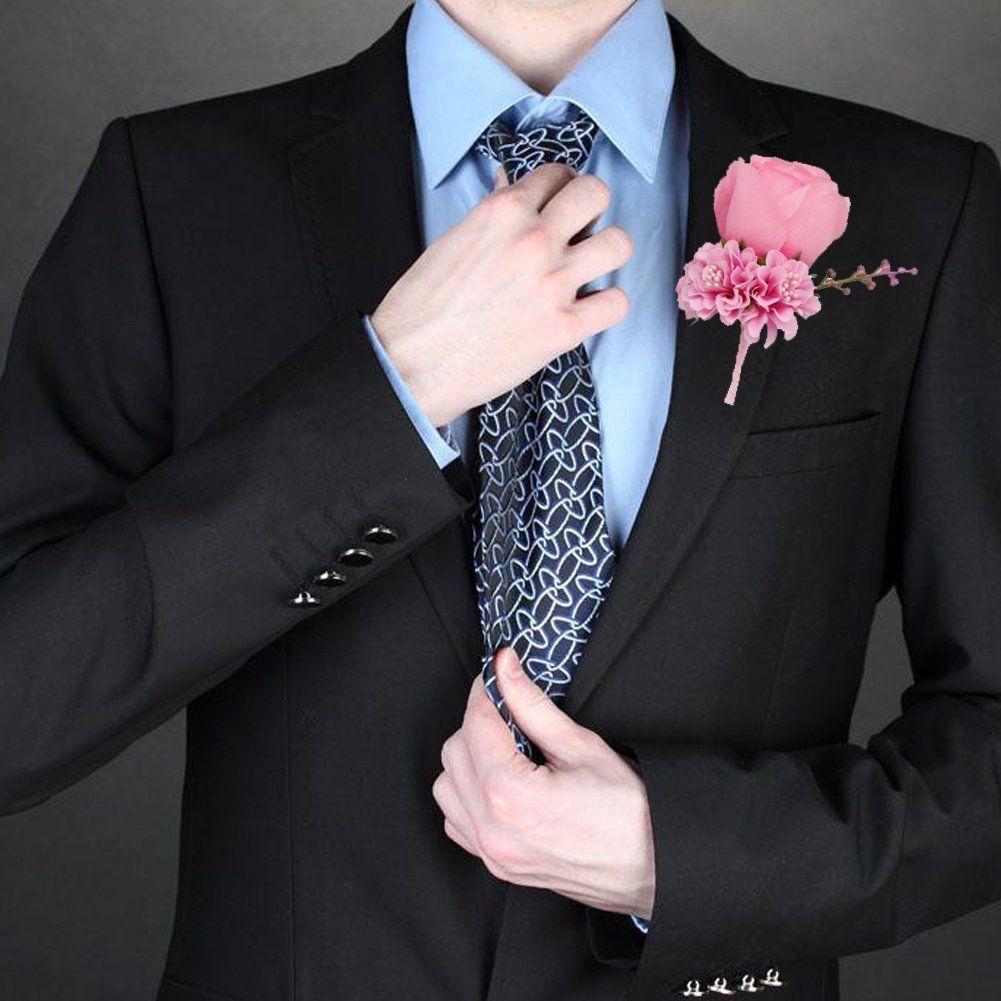 WeddingBobDIY Boutonniere Buttonholes Groom Groomsman Best Man Rose in pink ##weddings