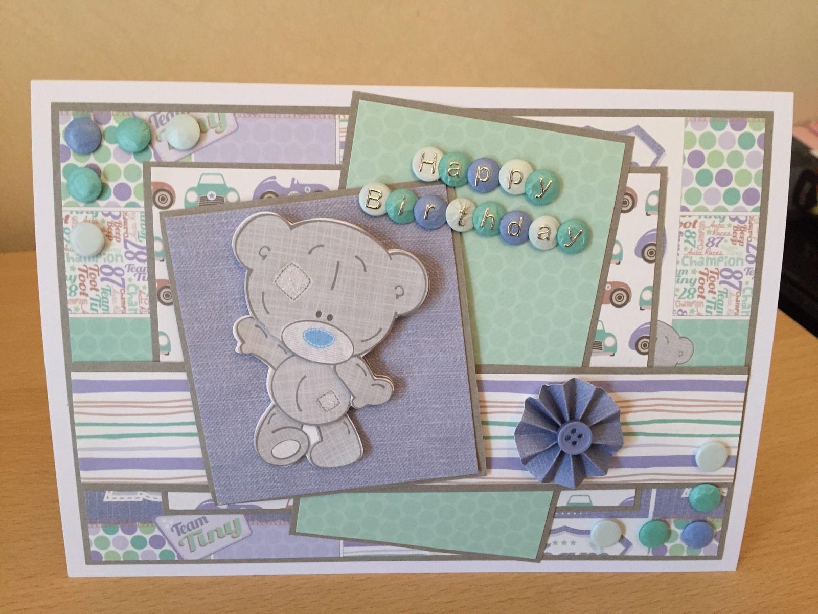 Handmade birthday Personalised decoupaged Tatty Teddy Birthday