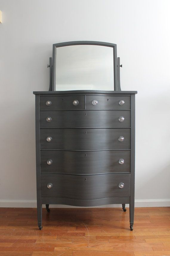 tall dresser chest. Vintage Gunmetal Grey Tall Dresser/Chest Of Drawers/Bureau With Mirror Dresser Chest O