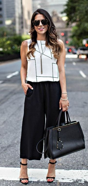 Black Cropped Wide Leg Dress Pants Gap Sleeveless Blouse Cardigan
