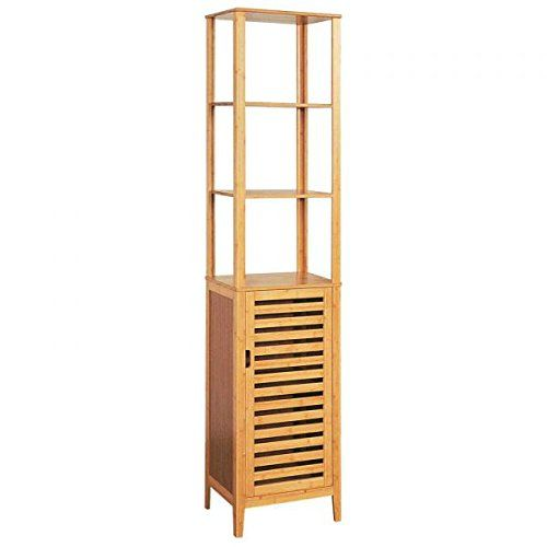 Hochschrank Badezimmer-Schrank Bambus Badschrank mit Tür und Ablagen ...