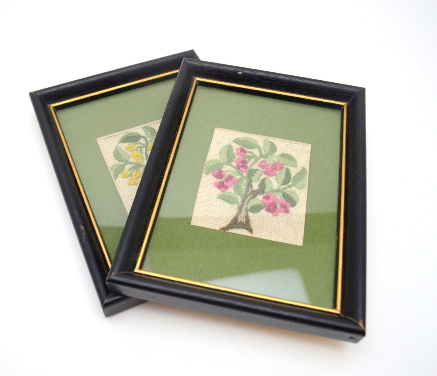Pair of Vintage Needlepoint Framed Pictures, Green Trees with Pink and Yellow Flowers, Crewel Wall Hanging, 1960s-1970s by UpswingVintage on Etsy