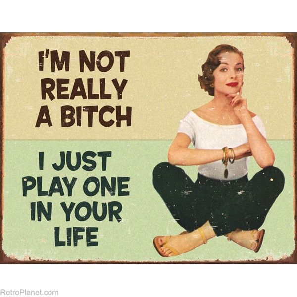 I'm Not Really A Bitch Retro Humor Metal Signs Funny Plaque Sign