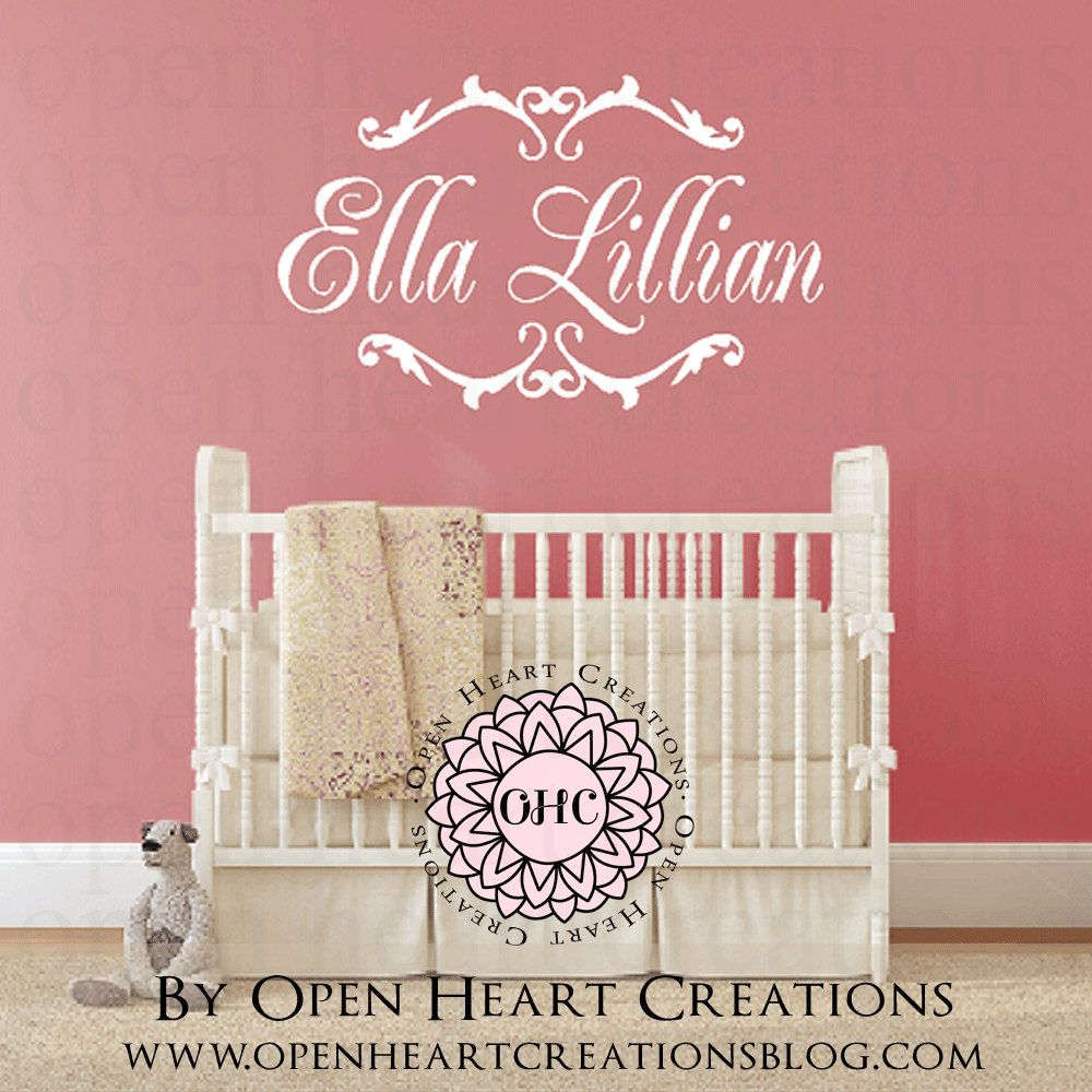 customized name wall decal with elegant damask shabby chic accents customized name wall decal with elegant damask shabby chic accents baby girl or boy teen name decal with script font fn0226