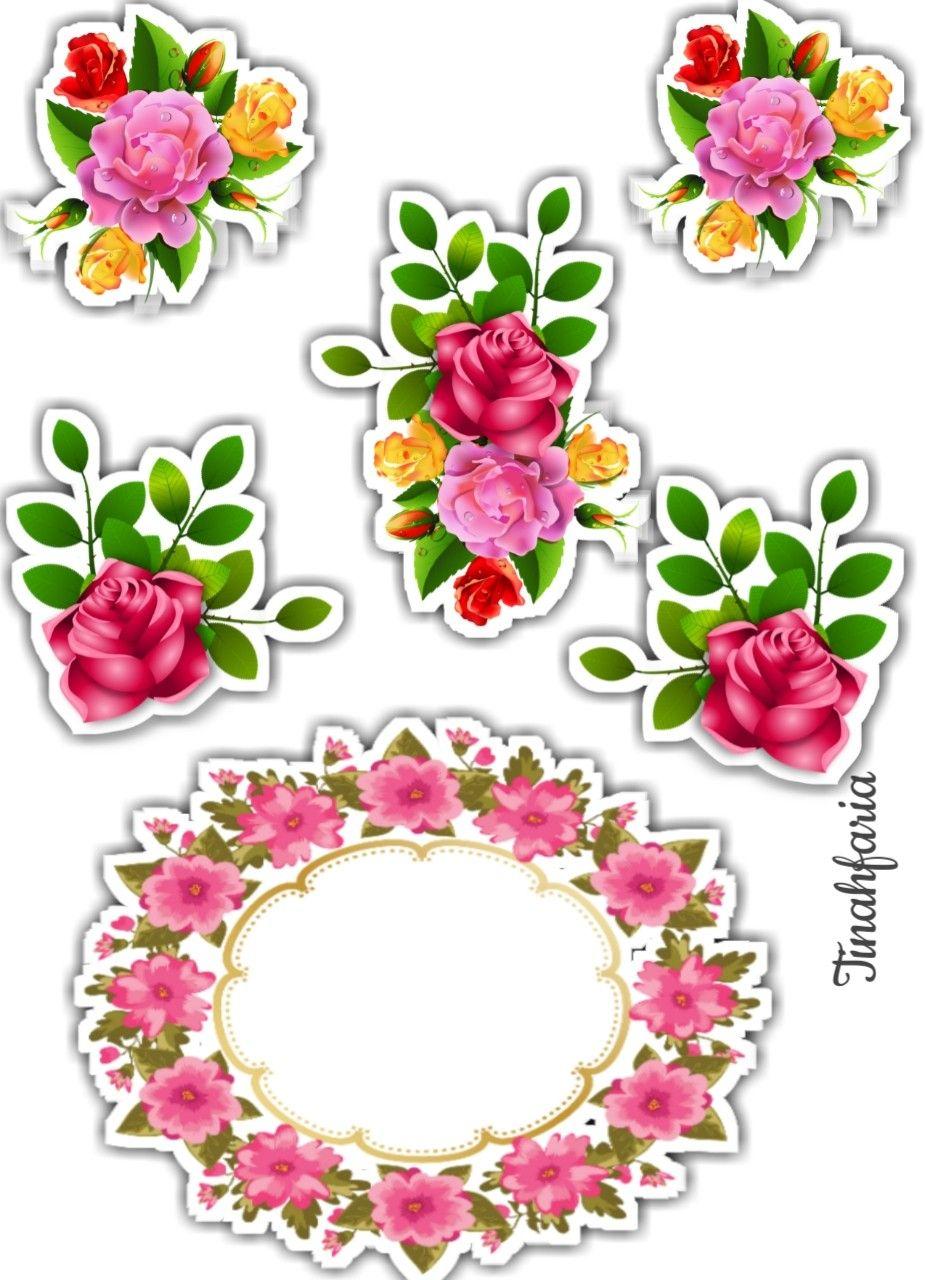 Flores Com Imagens Bolo Com Plaquinhas Adesivos Imprimiveis