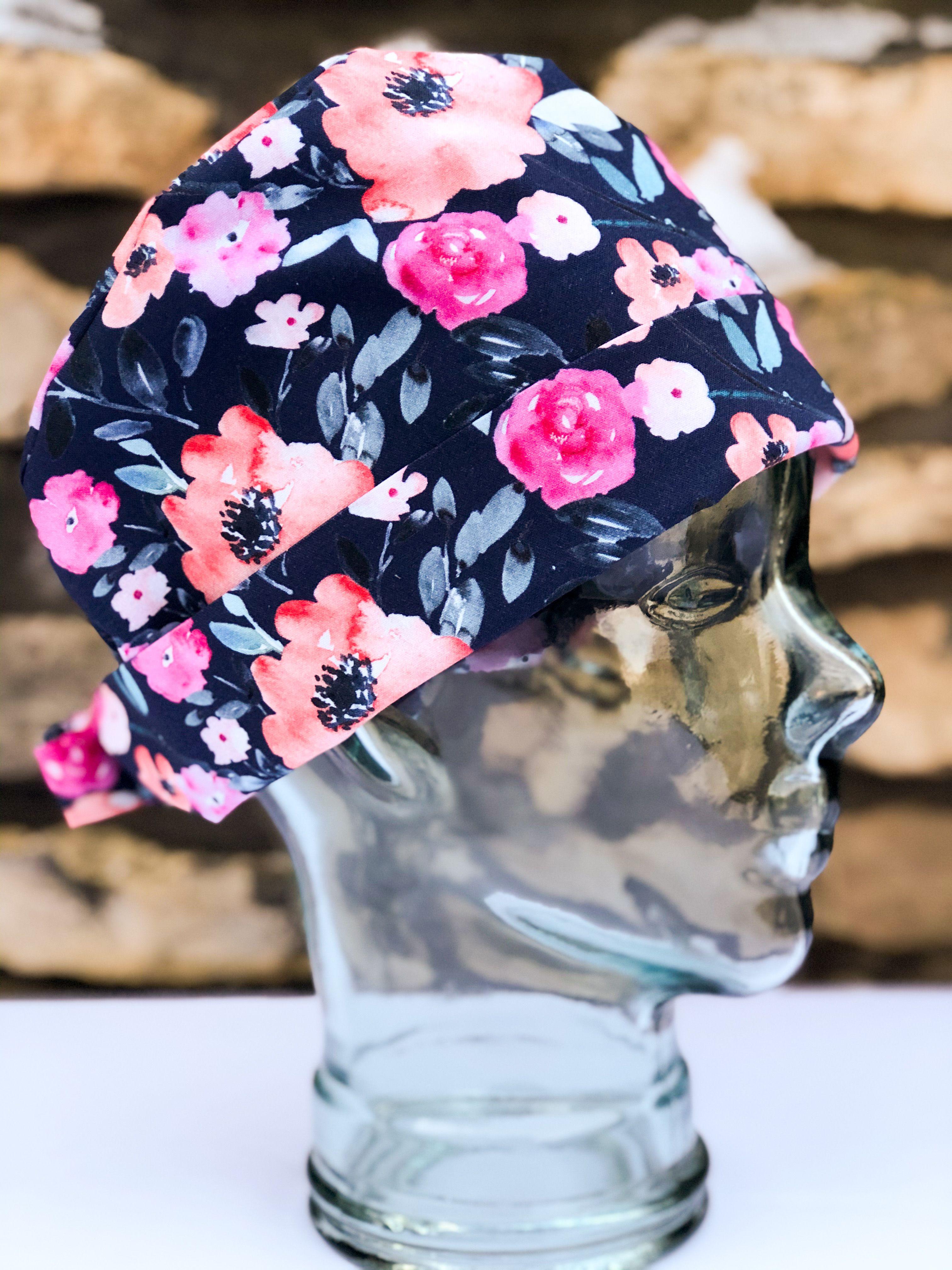 Fuchsia watercolor florals on navy scrub cap scrub hats