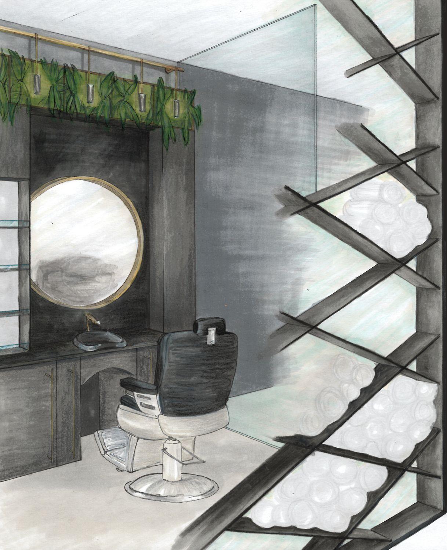 Project: June Exam - Barber Shop Presentation: Perspective Drawing Student: Trisha van der Merwe