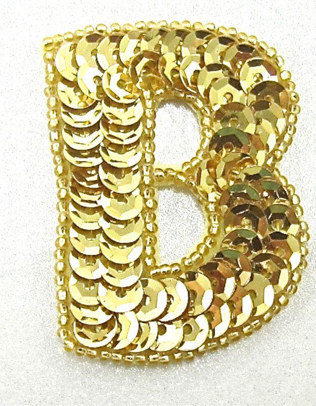 """Letter B with Gold Sequins and Beads 2"""" x 1.5"""""""