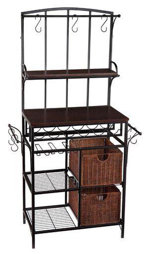 4 Tier Black Metal Bakers Rack Shelf Unit W Baskets Wine Rack