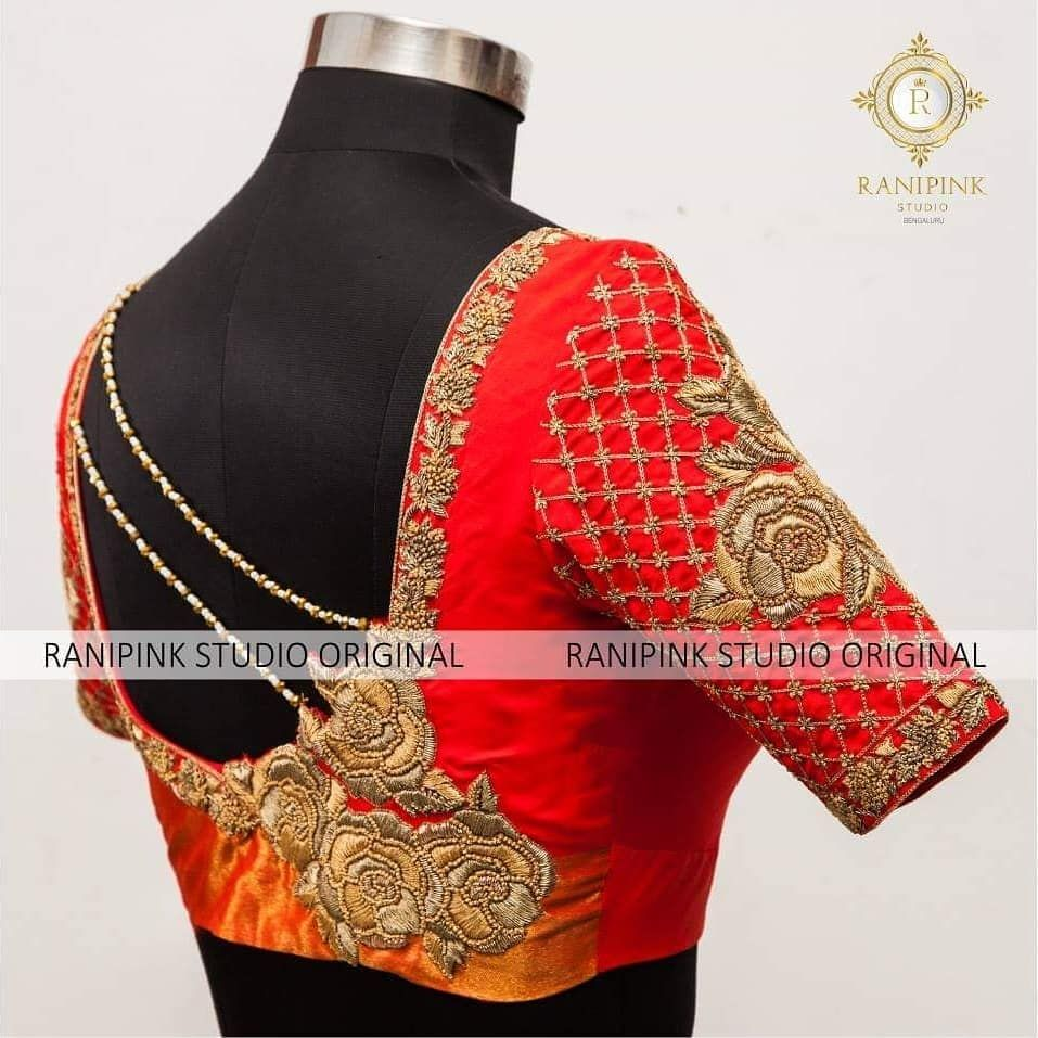 Stunning Red Color Designer Blouse With Rose Flower Design Hand Embroidery Work 27 November 2018 Wedding Blouse Designs Girly Fashion Trendy Blouse Designs