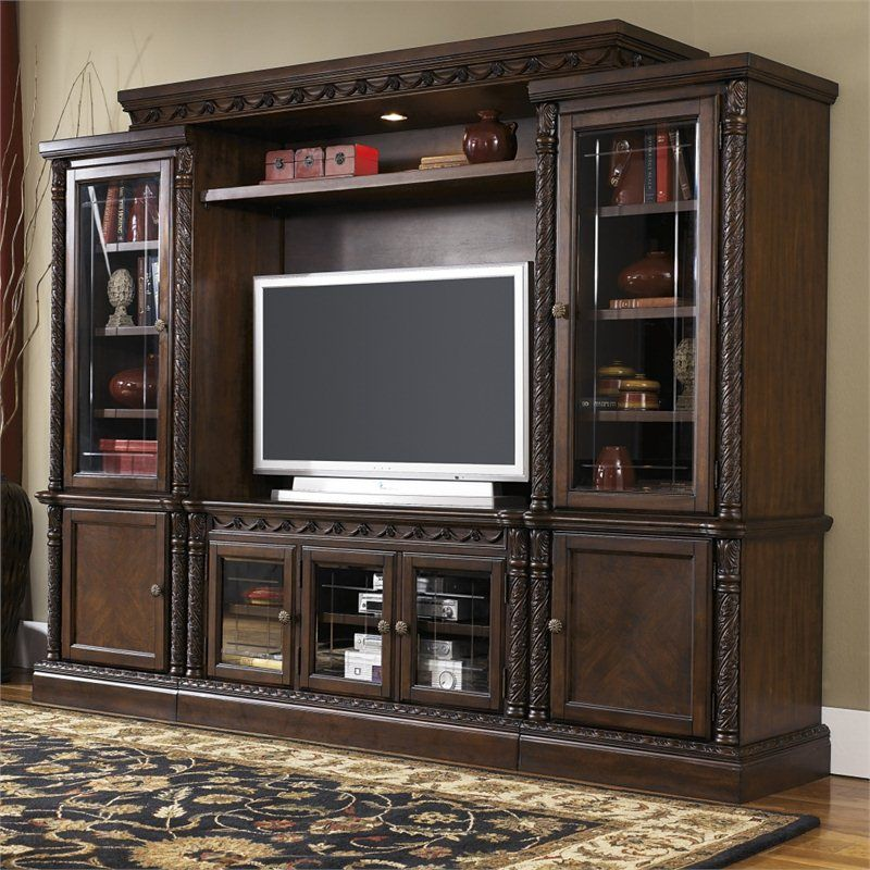 Signature Design By Ashley Furniture North Shore Entertainment Center In Brown North Shore