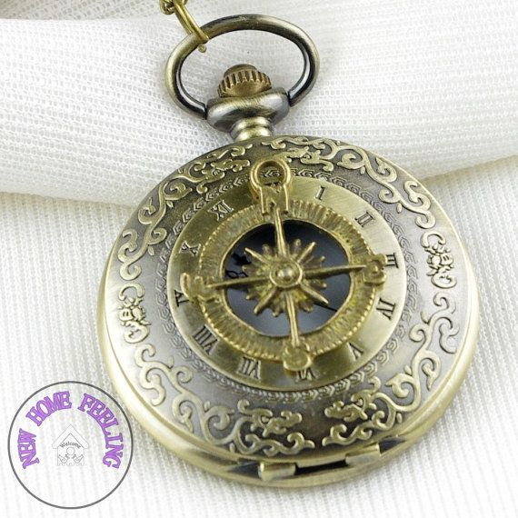 Steampunk Victorian Compass pocket watch by newhomefeeling on Etsy, $5.99