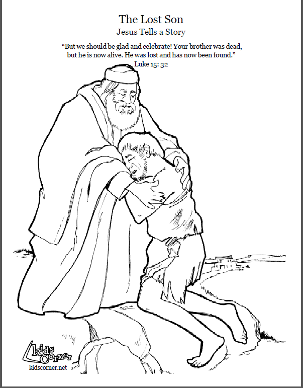The Parable of the Lost Son. Coloring page, script and Bible story ...
