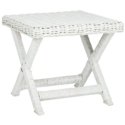 Wicker X Side Table White Safavieh