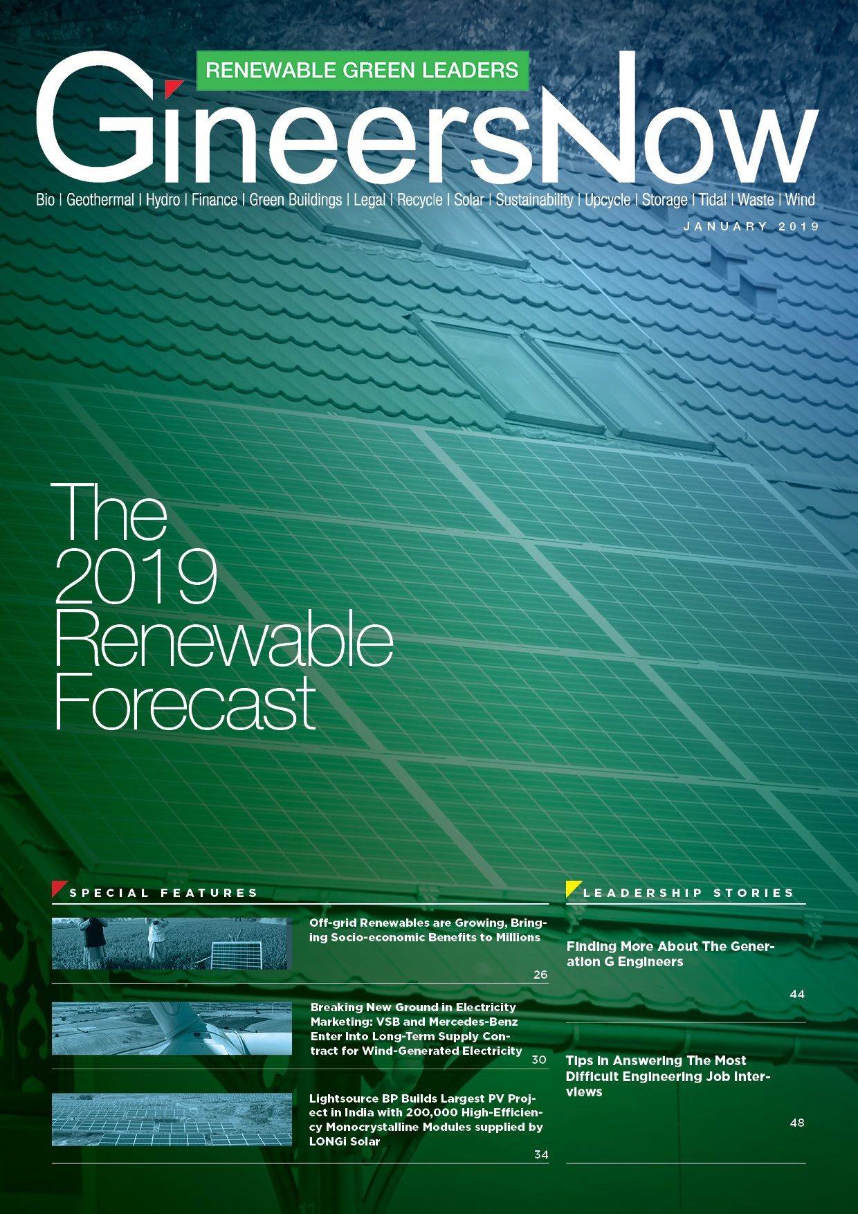 2019 Renewable Energy, Sustainability and Green Forecast