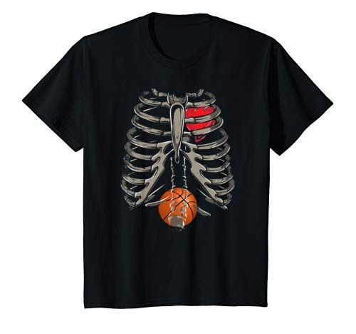 Skeleton Rib Cage Basketball Xray Funny Halloween Gift T Shirt Youth #area51partyoutfit
