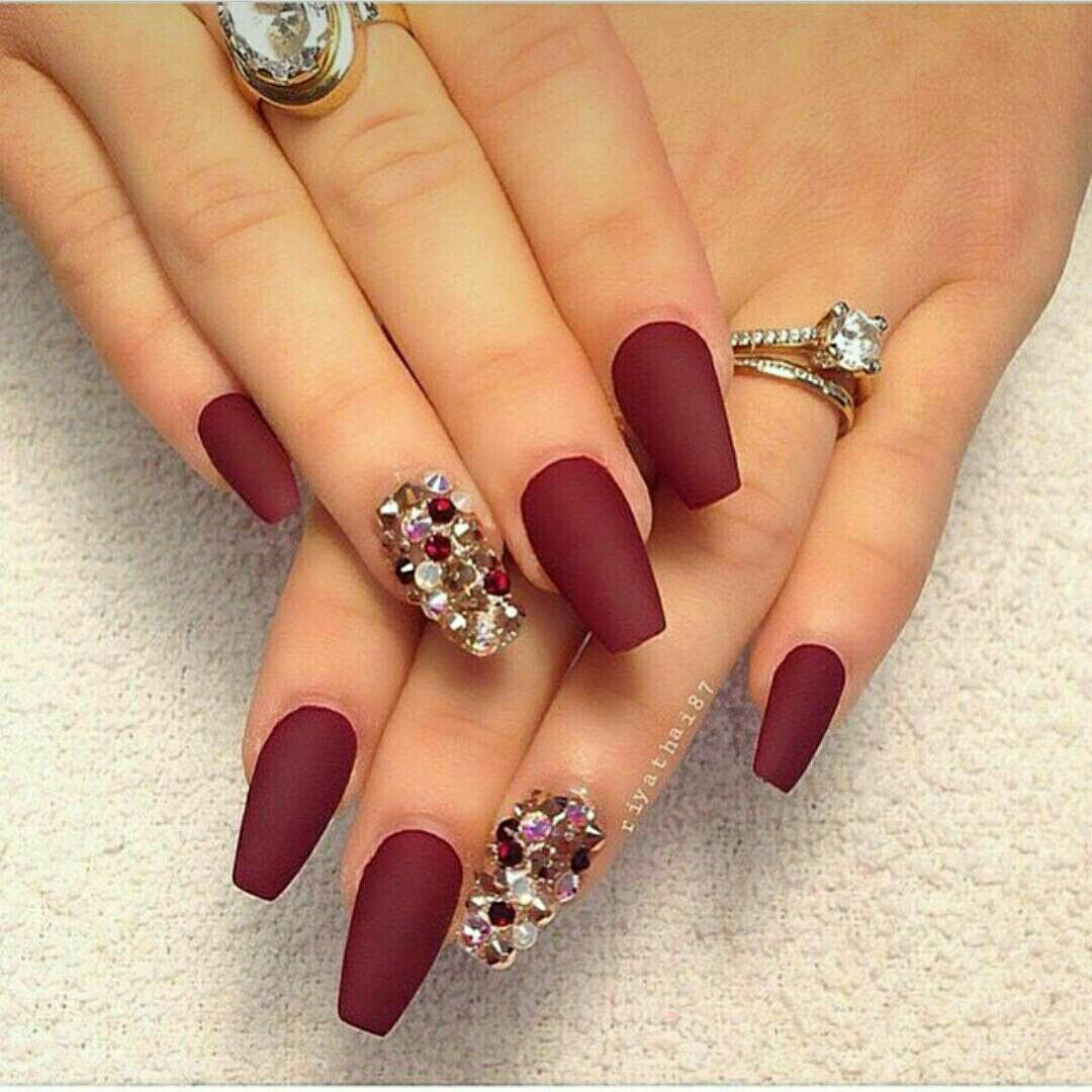 Let Your Nails Be The Center Of Attention With This Look Ruby Red A Crystal Accented Nail Is Elegant For Any Occasion