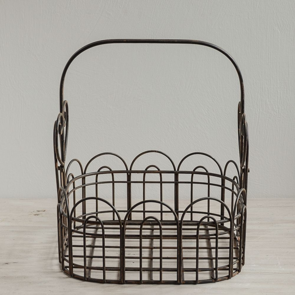 Vintage Wire Basket with a fold down handle. This charming square ...