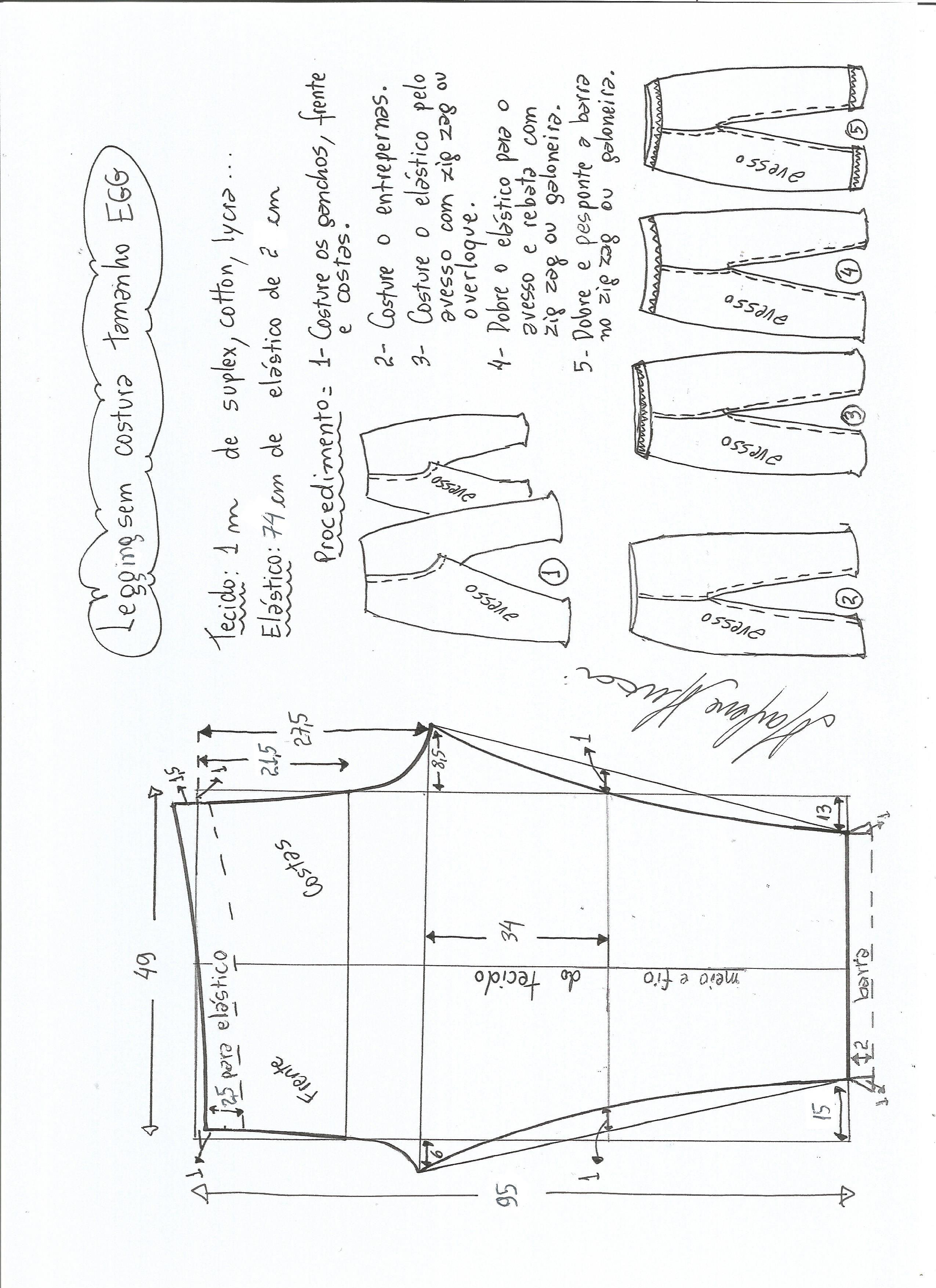 Patrón de legging sin costura lateral | Costura | Pinterest ...