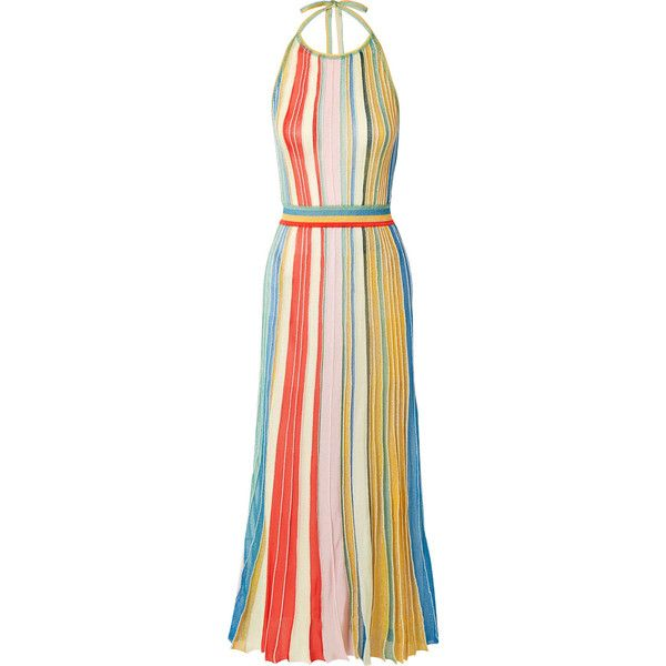 cb36df1b18dc Missoni Striped metallic stretch-knit halterneck dress ($1,980) ❤ liked on  Polyvore featuring dresses, coral, halter midi dress, halter tops, pleated  midi ...