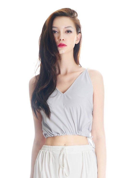 40ae3e412d45 Lolita Halter Top Silk Shirt Crop Top Women Pajamas Sleepwear Vest Top   White Grey