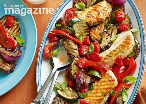 Sarah Randell's simple ratatouille chicken recipe from Sainsbury's magazine is bursting with summer flavours