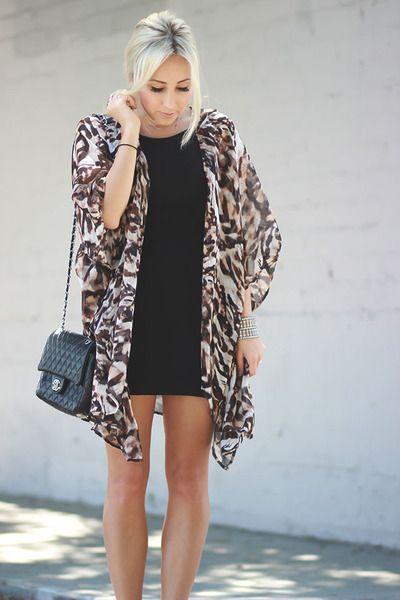 Kimono with a dress | Kimono | Pinterest | Kimonos, Animal print ...