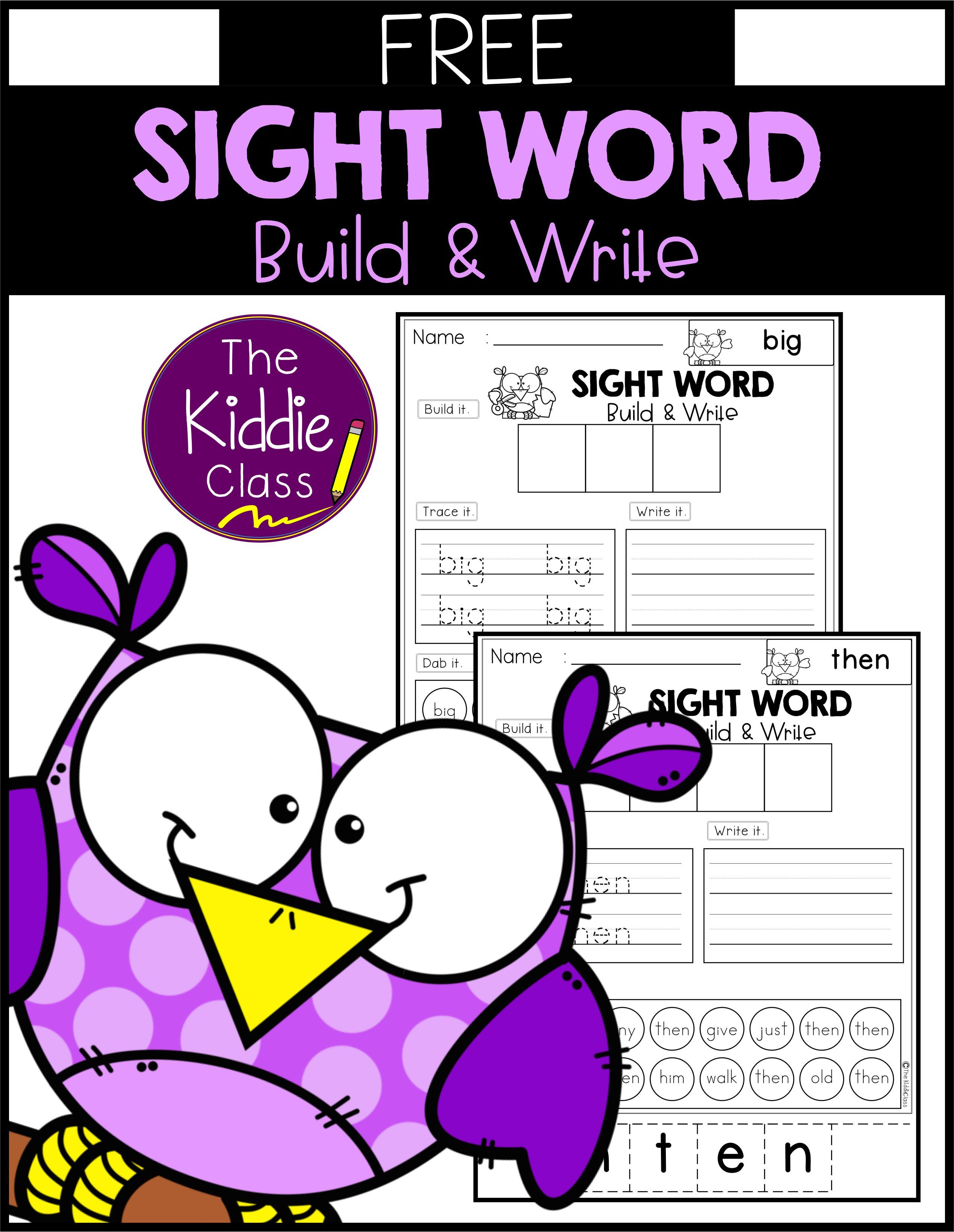 Free Sight Word Build And Write