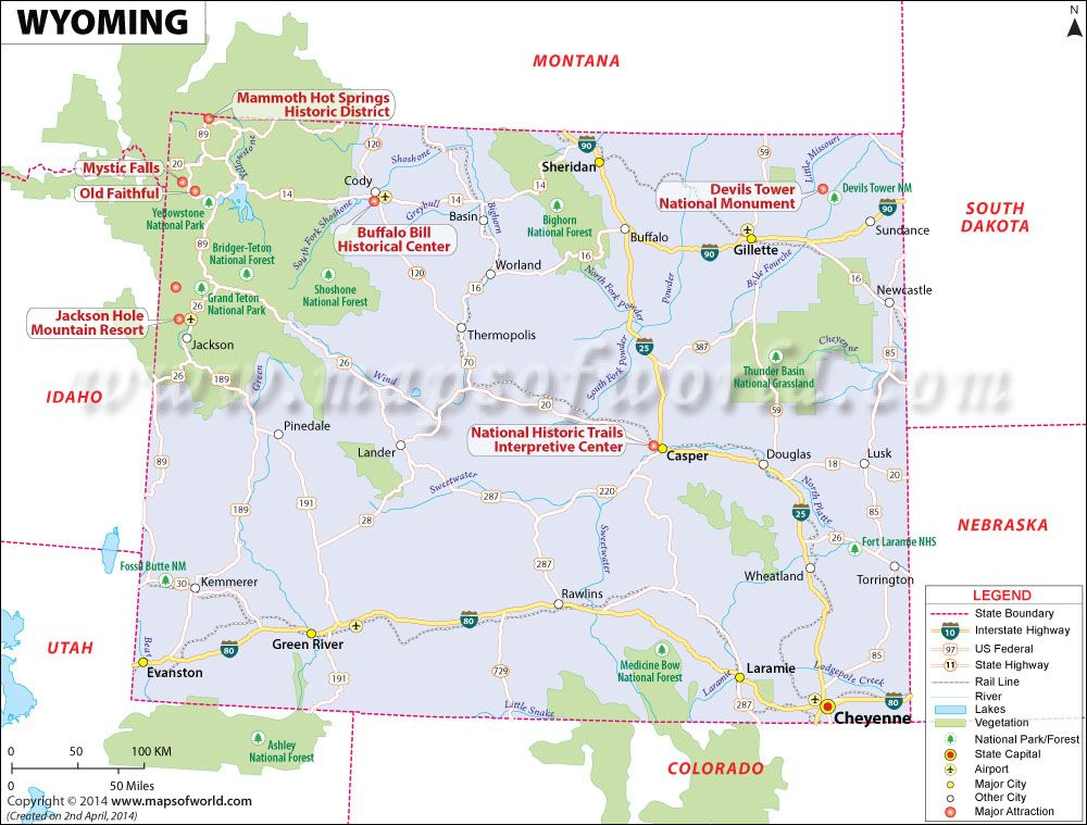 wyoming map showing the major travel attractions including cities