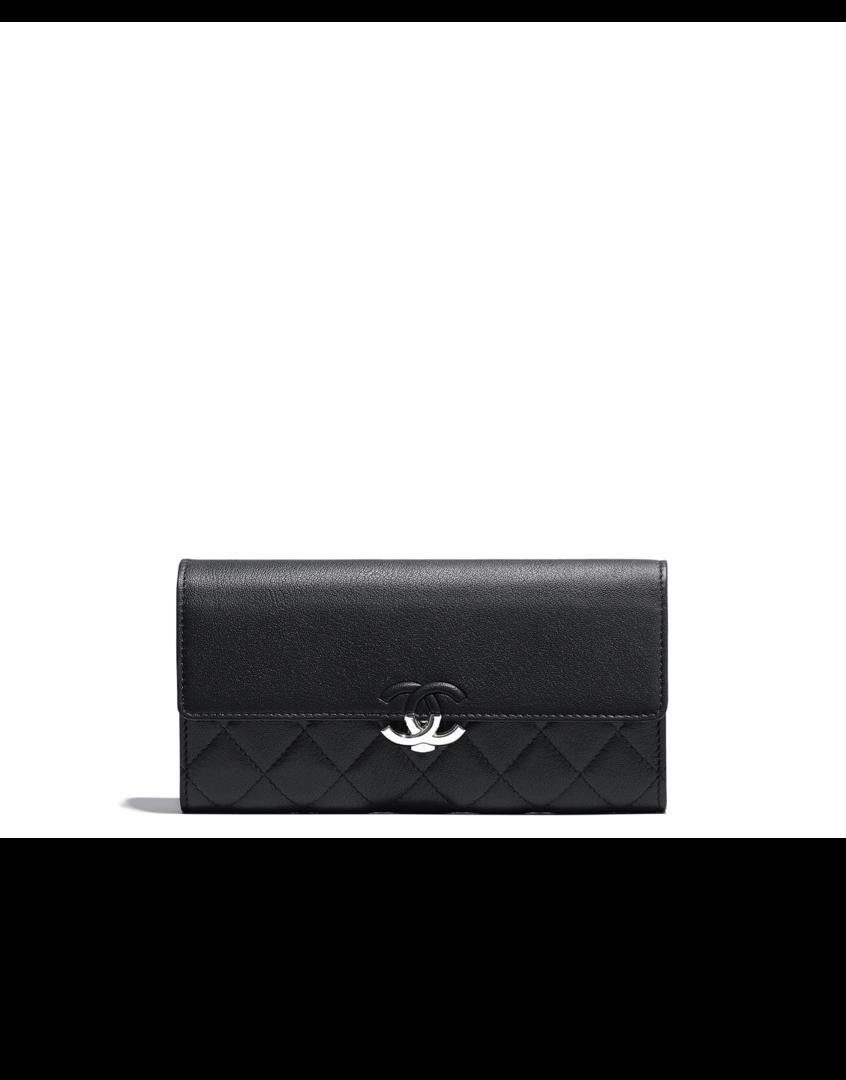 0efa49ff8dc04c Flap wallet, lambskin & silver-tone metal-black - CHANEL | Chanel in ...