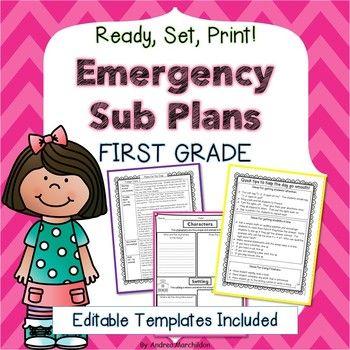 Sub Plans First Grade 2 Days Ready To Go Math Literacy Literacy