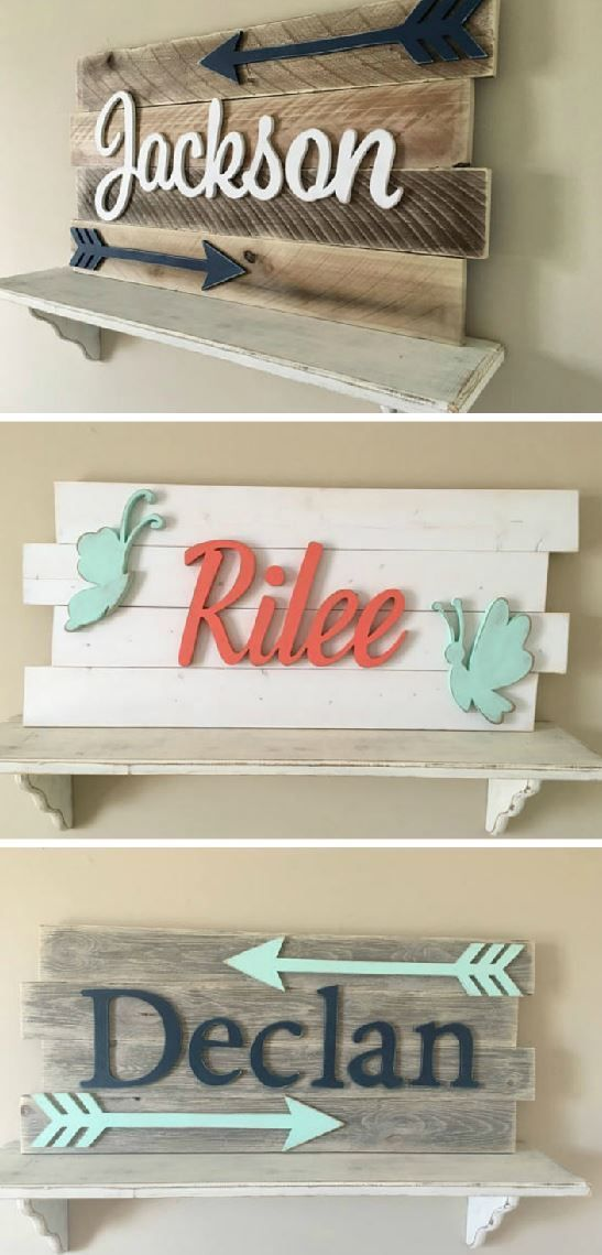 Love These Custom Baby Name Signs With Arrows Or Erflies They Would Look So Cute Hanging Up As Nursery Decor Ad