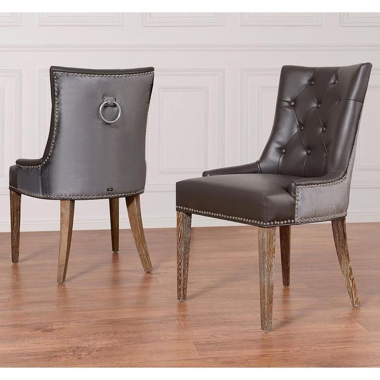 Uptown Grey Leather/Velvet Dining Chair (Set Of