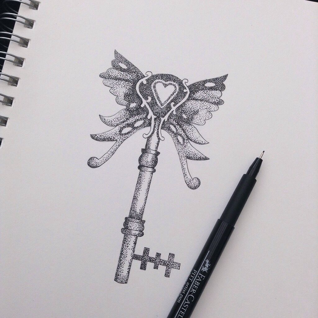 butterfly key in dotwork i drew i admire drawing butterfly