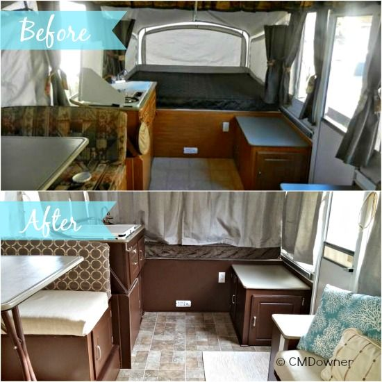 Cyndie S Pop Up Camper Makeover Remodeled Campers Pop Up Camper