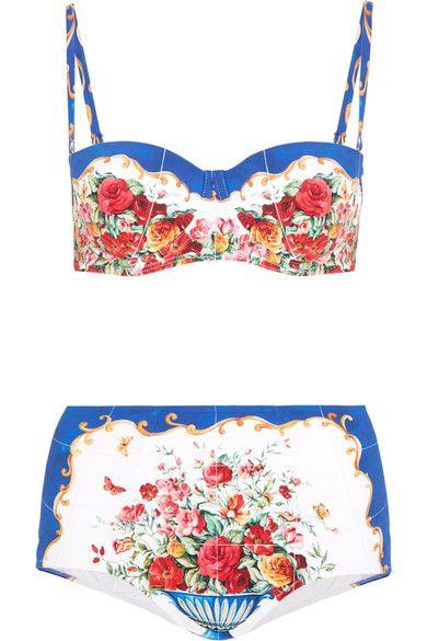 5931667c534d2 Dolce & Gabbana - Printed Bandeau Bikini - Blue   Products   Bandeau ...